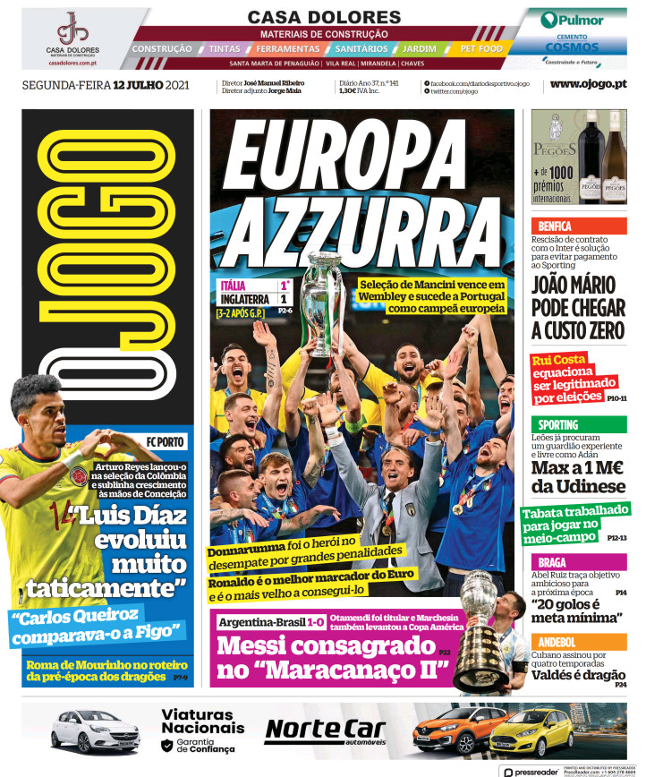 O Jogo portogallo prima pagina
