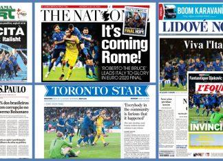 Prime pagine giornali Italia campione Europa azzurri in copertina