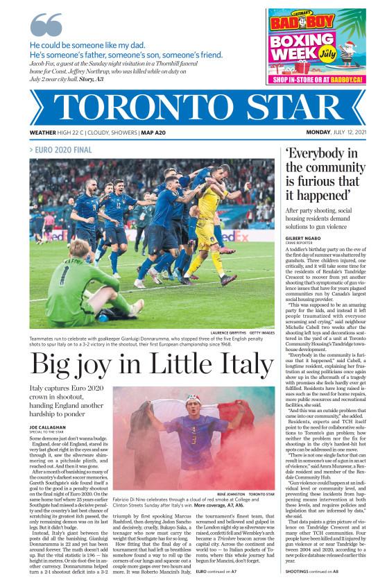 Prima pagina Toronto Star del 12 luglio 2021