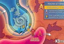 Il quadro meteorologico della prossima settimana con nubifragi e temperature in calo
