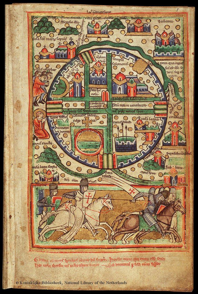 1454px plan of jerusalem, 12th century. ca. 1200