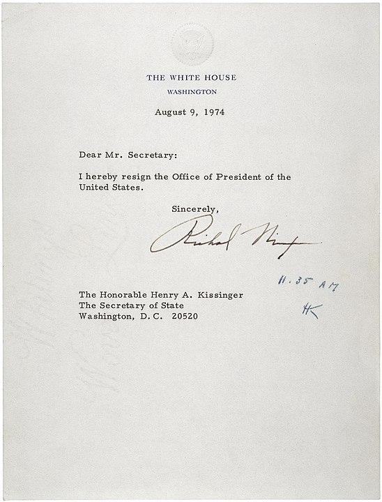 548px letter of resignation of richard m. nixon 1974
